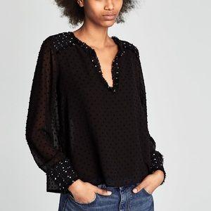 Zara top w/ dot mesh & contrasting tweed detail